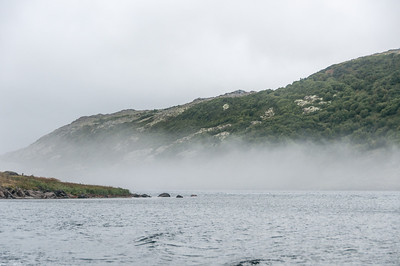 Fog near mountain in Red Bay, Canada