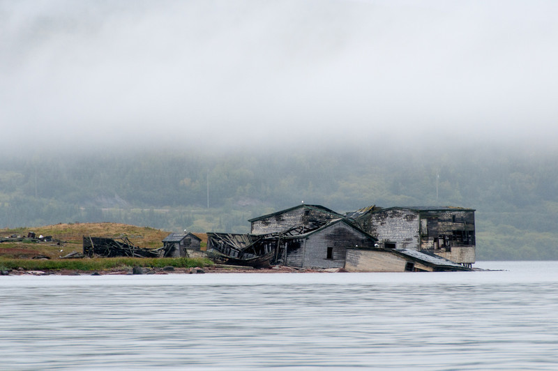 Wrecked buildings in Red Bay, Newfoundland and Labrador, Canada