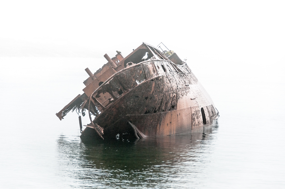 Wreck of the Bernier, which went aground in 1966