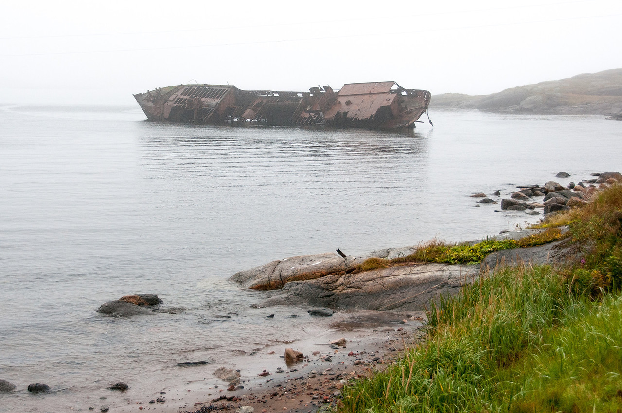 View of the Bernier shipwreck from the shores of Red Bay, Canada