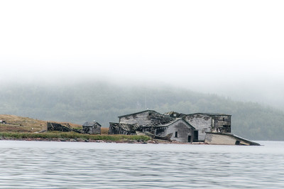 Wrecked buildings in Red Bay, Canada