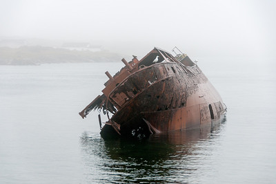 The remains of the ship the Bernier that grounded in 1966 in the Red Bay Harbour by Saddle Island, Labrador, Newfoundland and Labrador