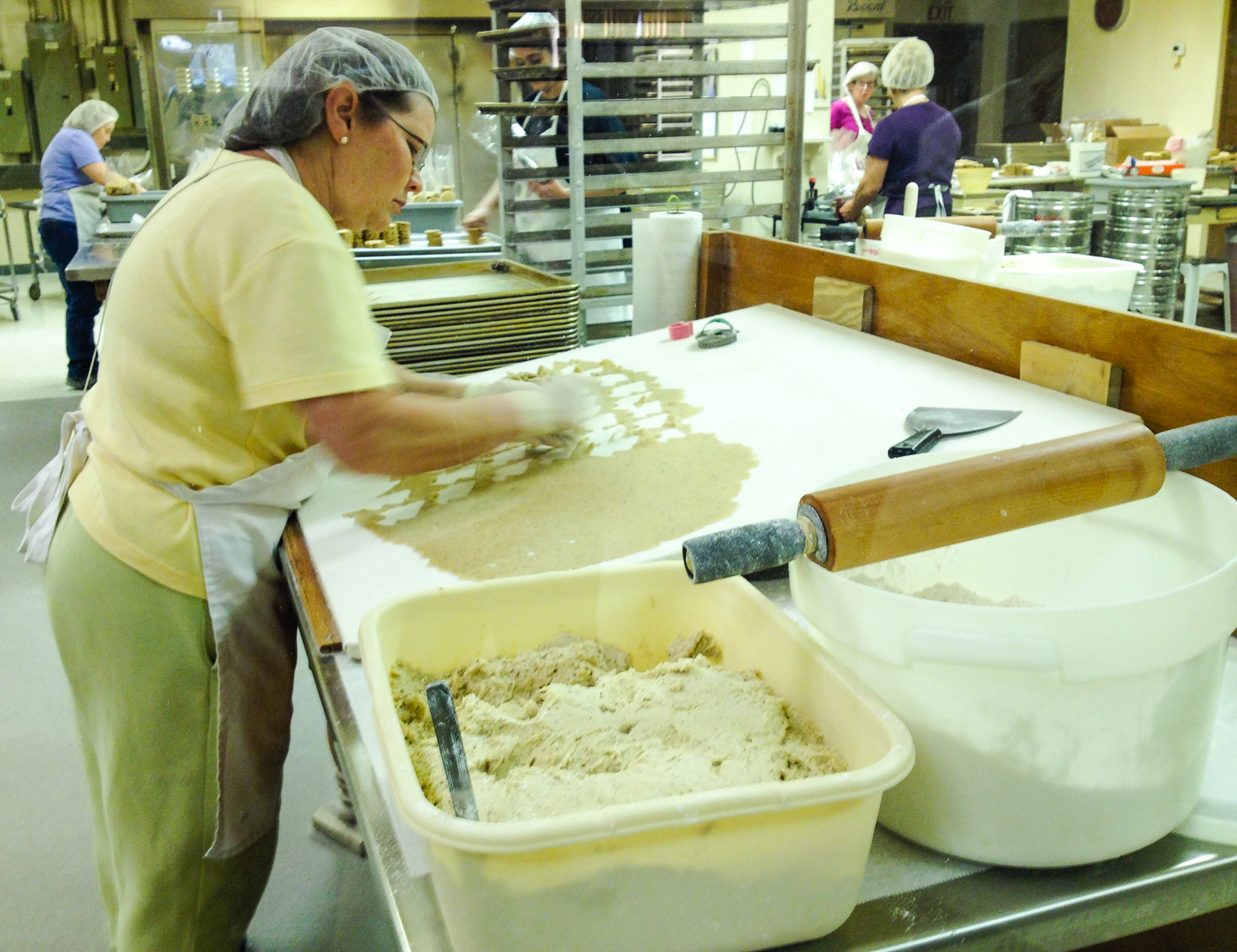 Watching cookies being rolled and cut at Mrs. Hanes Moravian Cookies in Clemmons, North Carolina.
