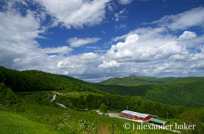 Blue Sky on the Blue Ridge with Red Apple Barn