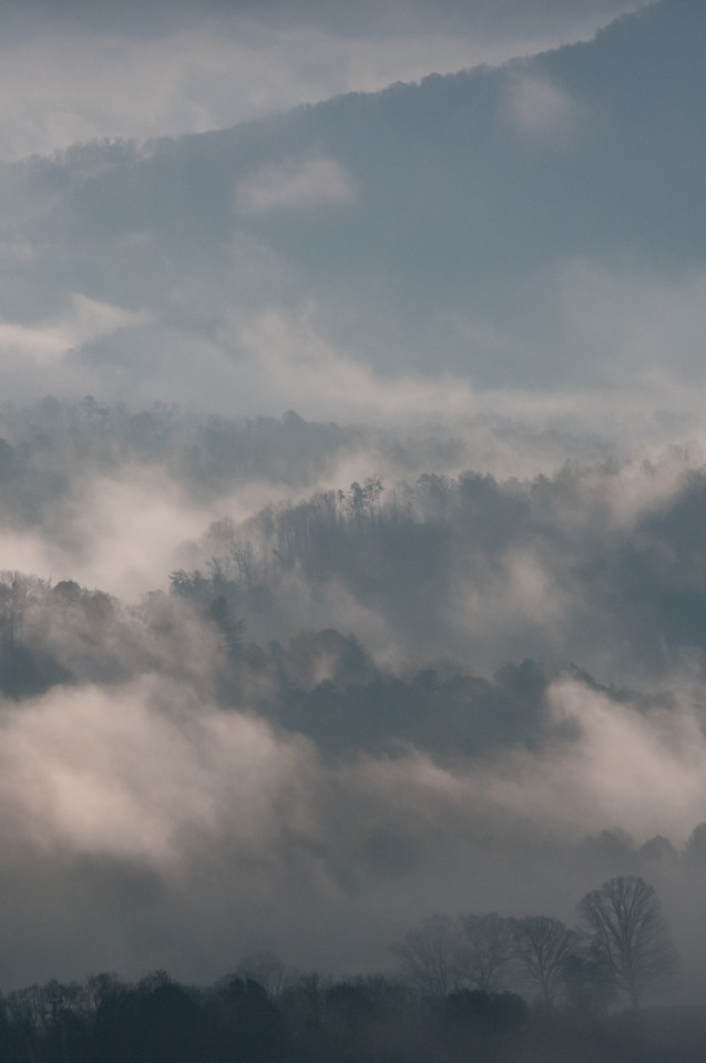 Mist over the Great Smoky Mountains in Bryson City, North Carolina