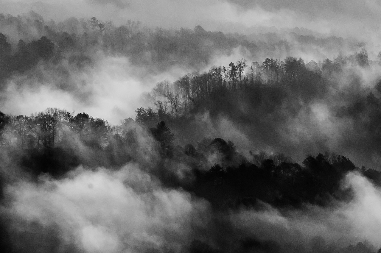 Mist over the Great Smoky Mountains - Bryson City, North Carolina