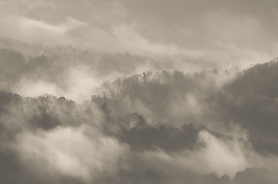 Mist over Great Smoky Mountains in Bryson City, North Carolina