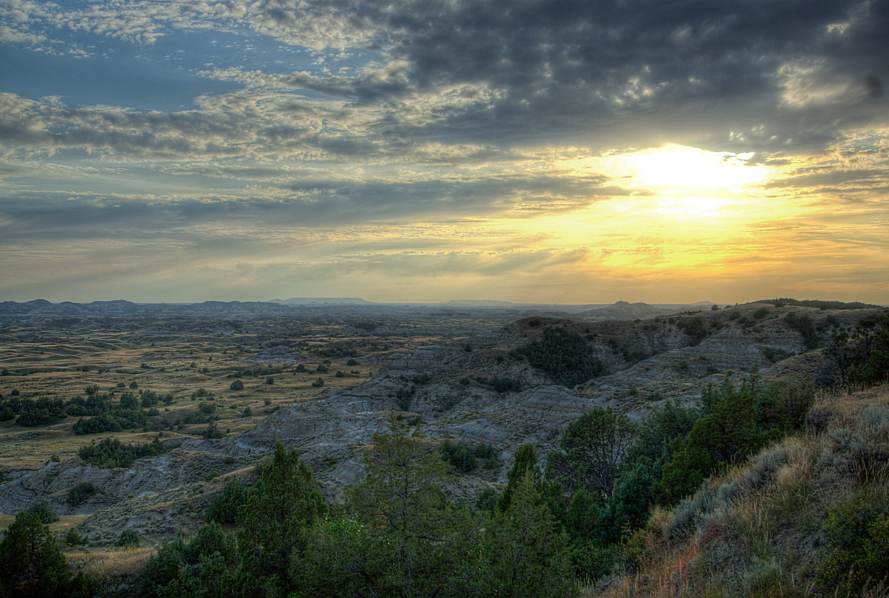 Sunset over at Theodore Roosevelt National Park in North Dakota