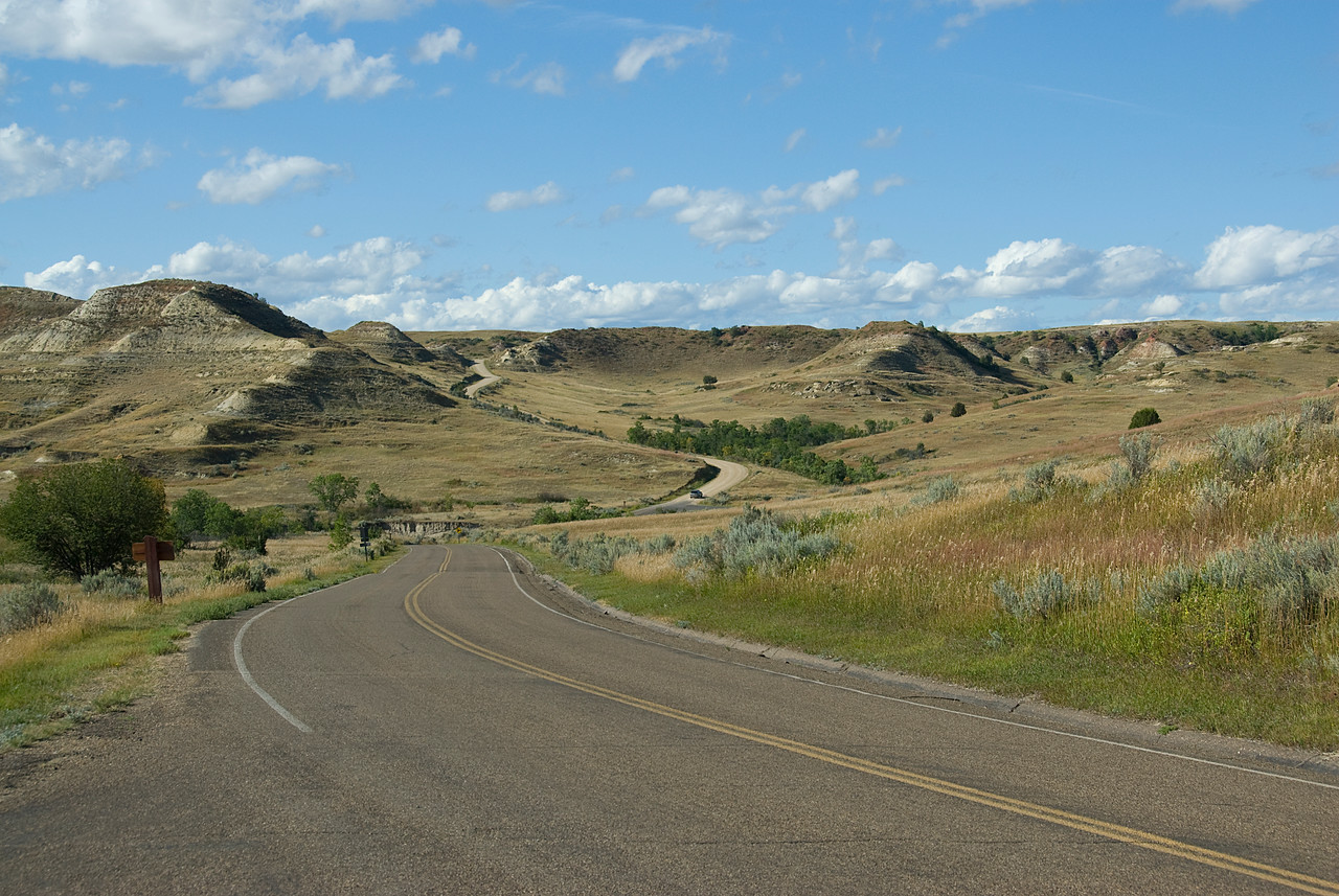 Winding road in Theodore Roosevelt National Park, North Dakota