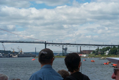 View of the MacDonald Bridge from the ferry - Halifax, Nova Scotia