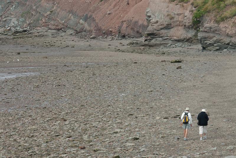 Tourists near the Joggins Fossil Cliffs in Nova Scotia