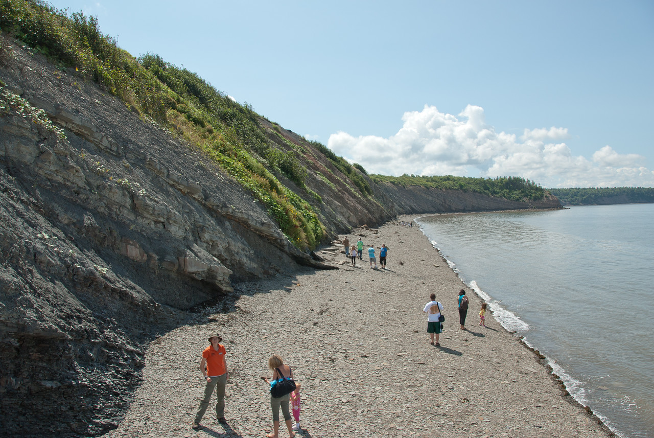 Tourists near the Joggins Fossil Cliffs in Nova Scotia
