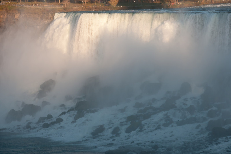 Close-up shot of Canadian Horseshoe Falls in Niagara Falls, Ontario, Canada