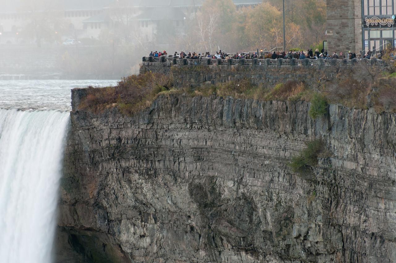 Tourists watching the Niagara Falls in Ontario, Canada