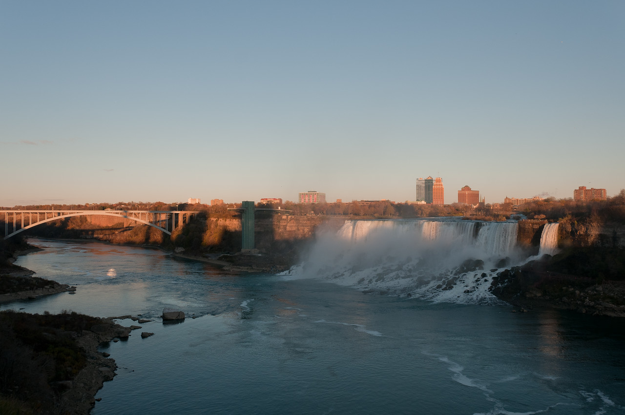 Rainbow Bridge with a view of American and Bridal Falls, Niagara Falls, Ontario, Canada