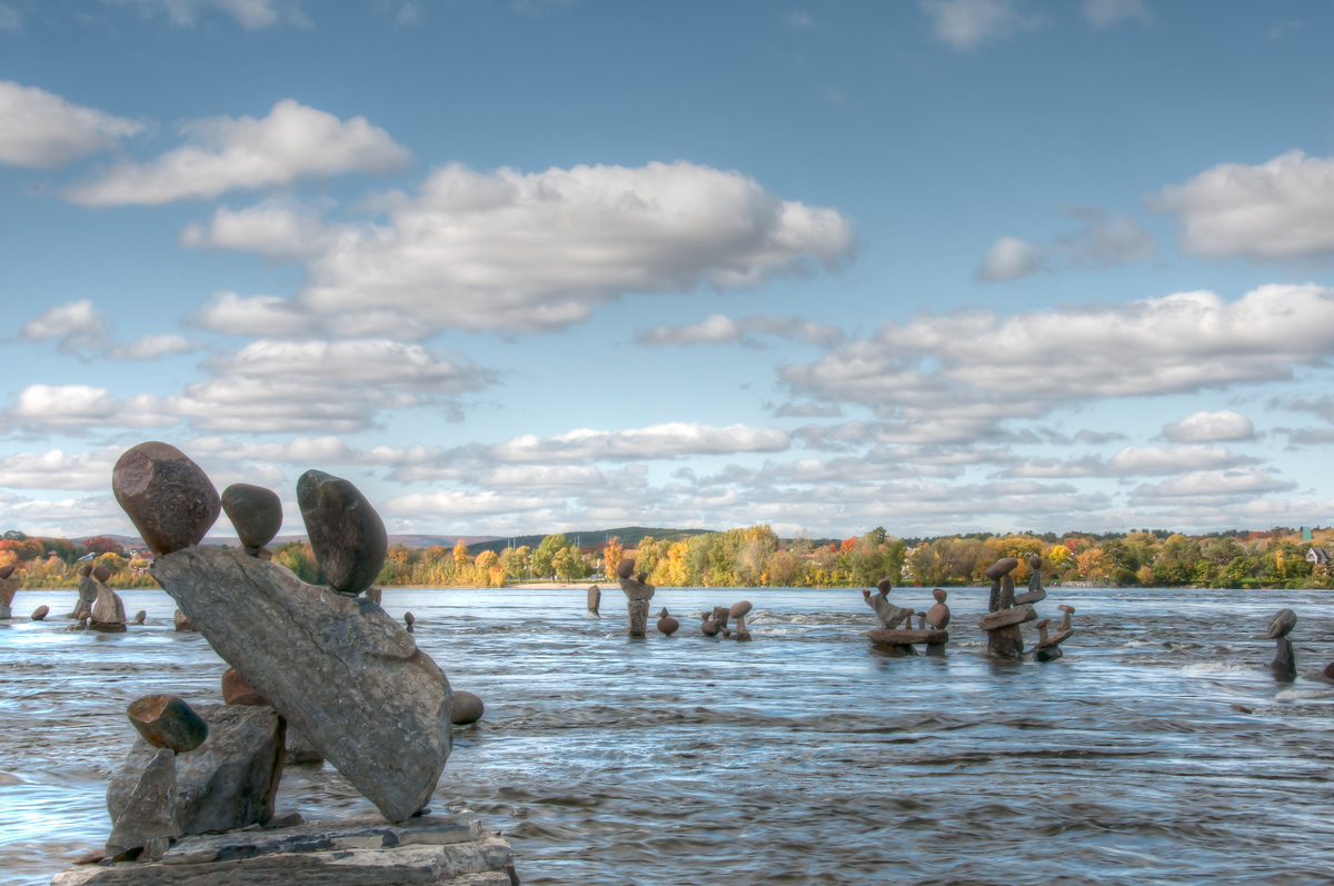 Rock Statues at the Remic Rapids Park in Ottawa, Canada