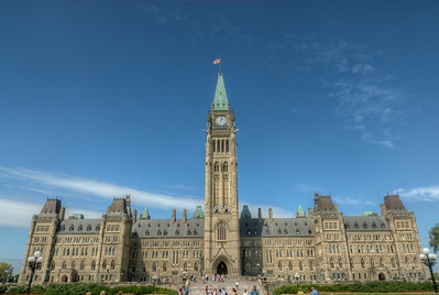 The Centre Block of Parliament Hill in Ottawa, Ontario, Canada