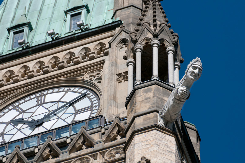 One of four grotesques at the corners of the Peace Tower in Parliament Hill, Ottawa, Ontario, Canada