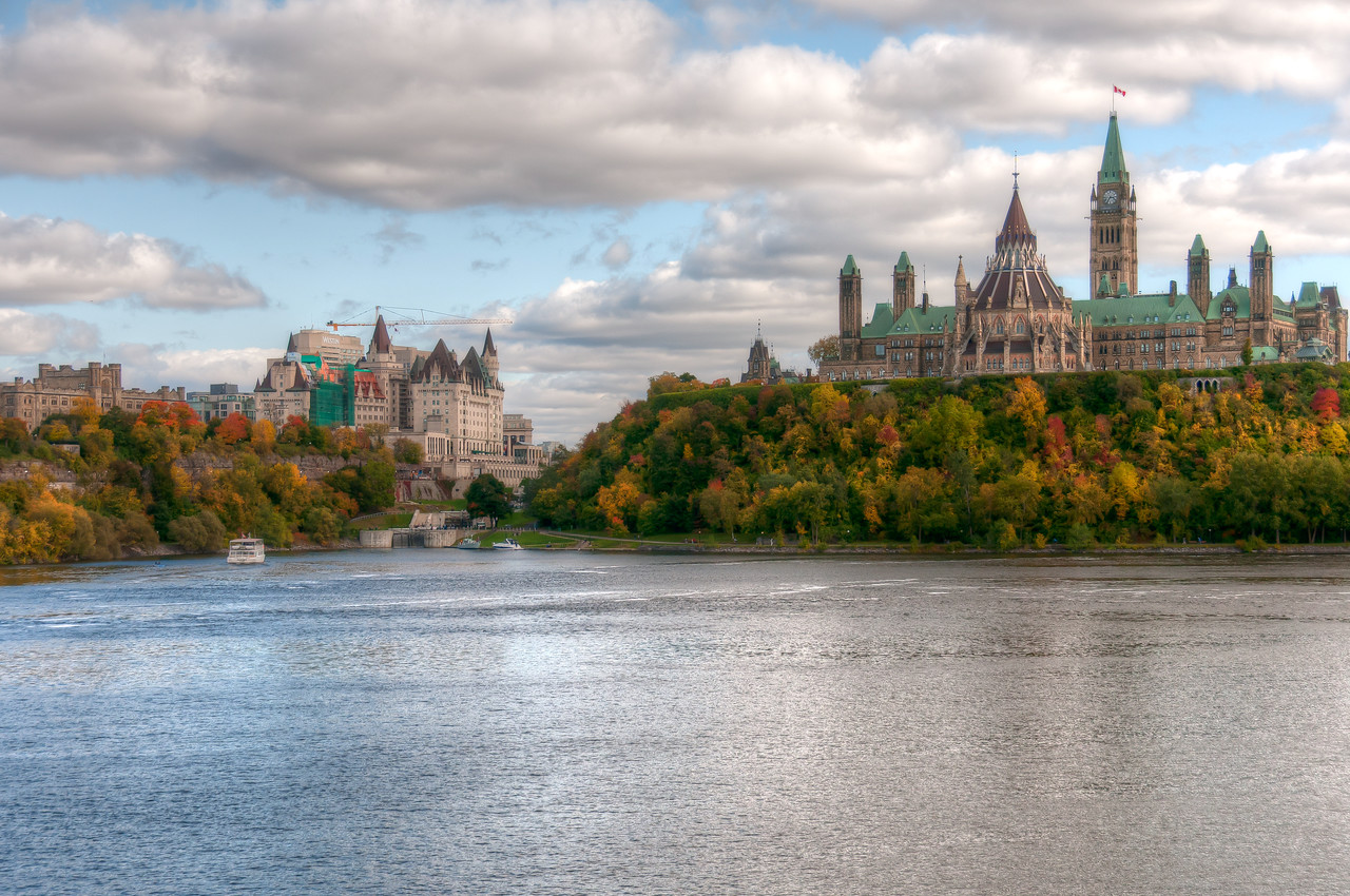 Parliament Hill near Ottawa River in Ontario, Canada