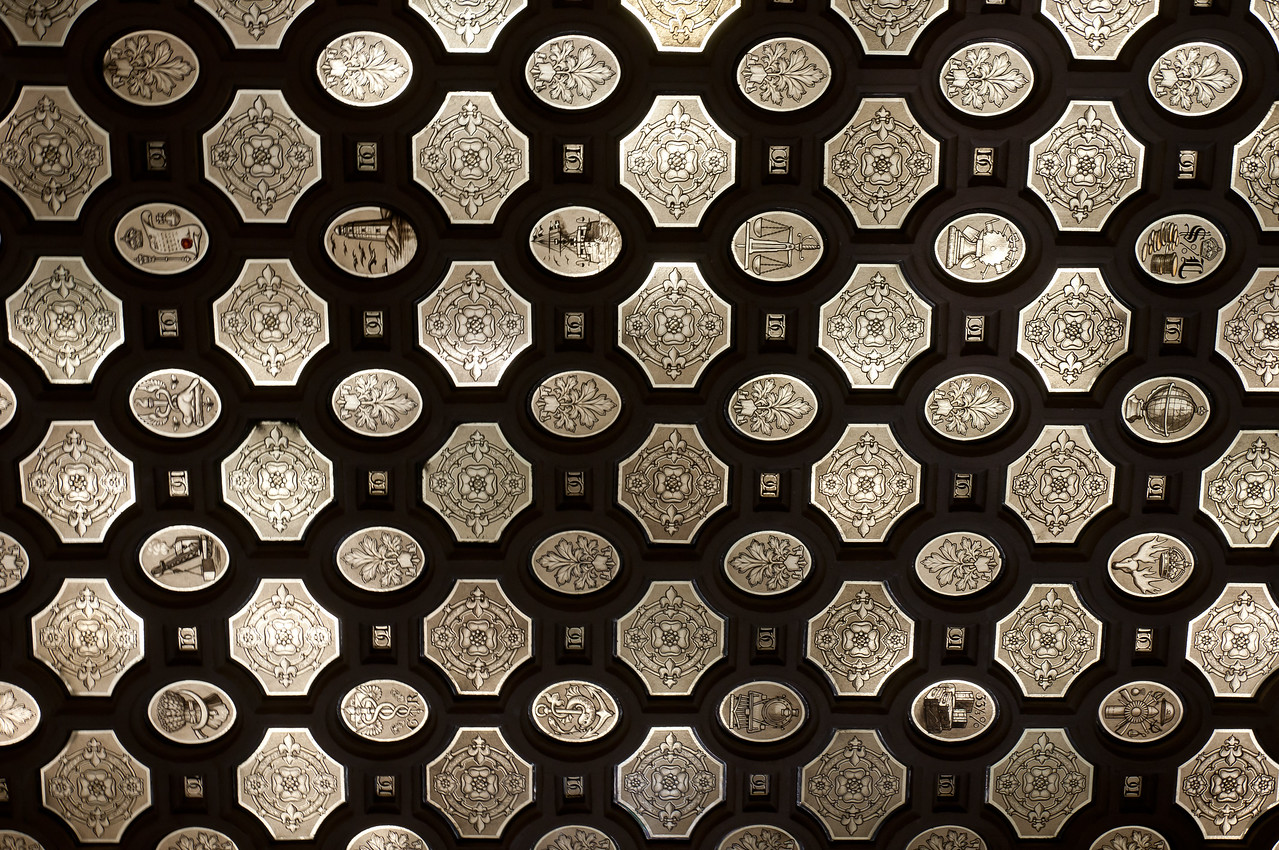 Architectural details inside Parliament Hill in Ottawa, Ontario, Canada