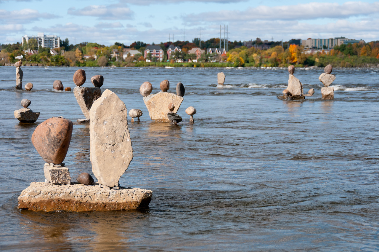 Balanced rock sculptures in Remic Rapids, Ottawa River, Ontario, Canada