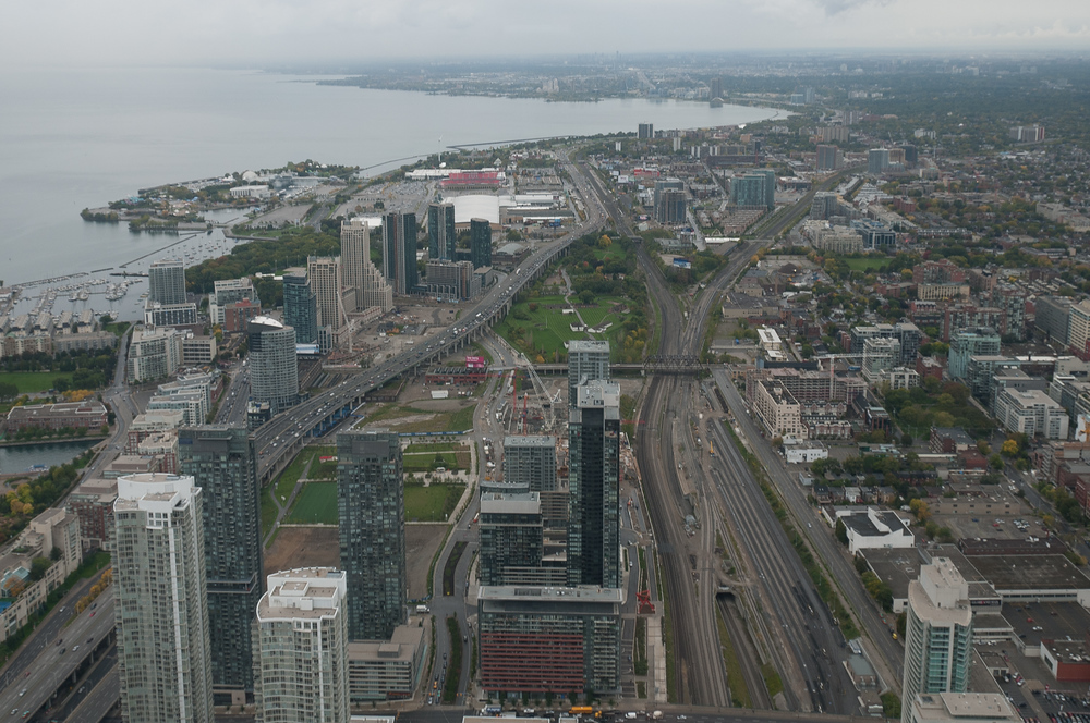 An Aerial View of the Waterfront in Toronto, Canada