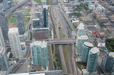 Aerial view of the Toronto skyline from CN Tower - Toronto, Canada