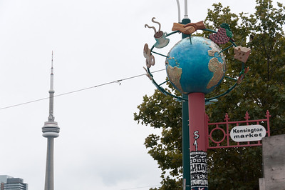 The CN Tower as seen from Kensington Market in Toronto, Canada