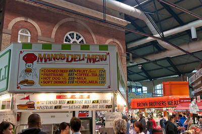 Deli and food stall in St. Lawrence's Market in Toronto, Canada