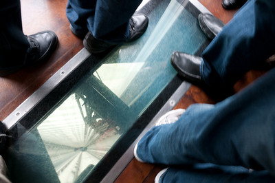 Glass on the floor of elevator - Toronto, Canada