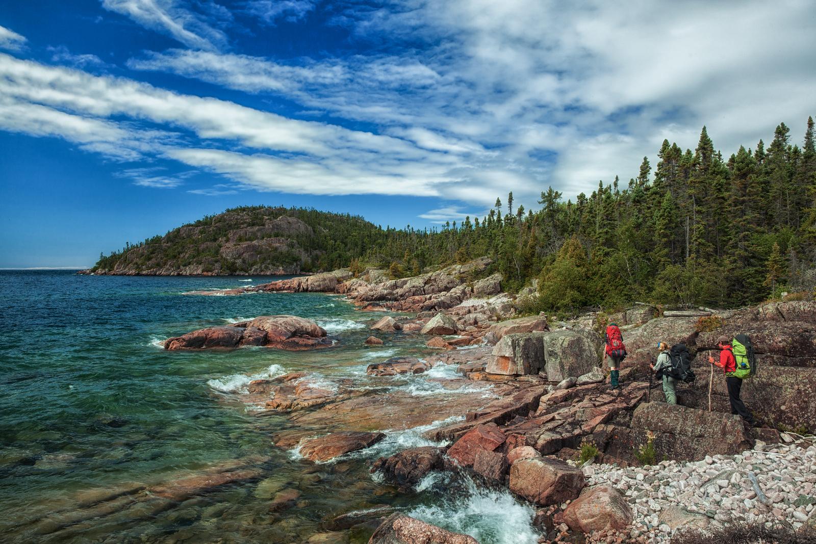 Hiking the Pukaskwa Coastal Trail in Ontario.