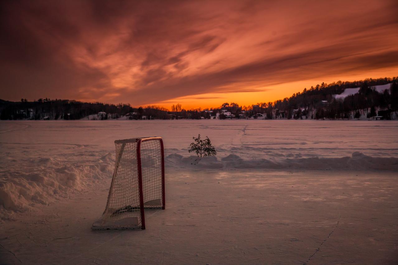 Hockey sunset at Cedar Grove Lodge