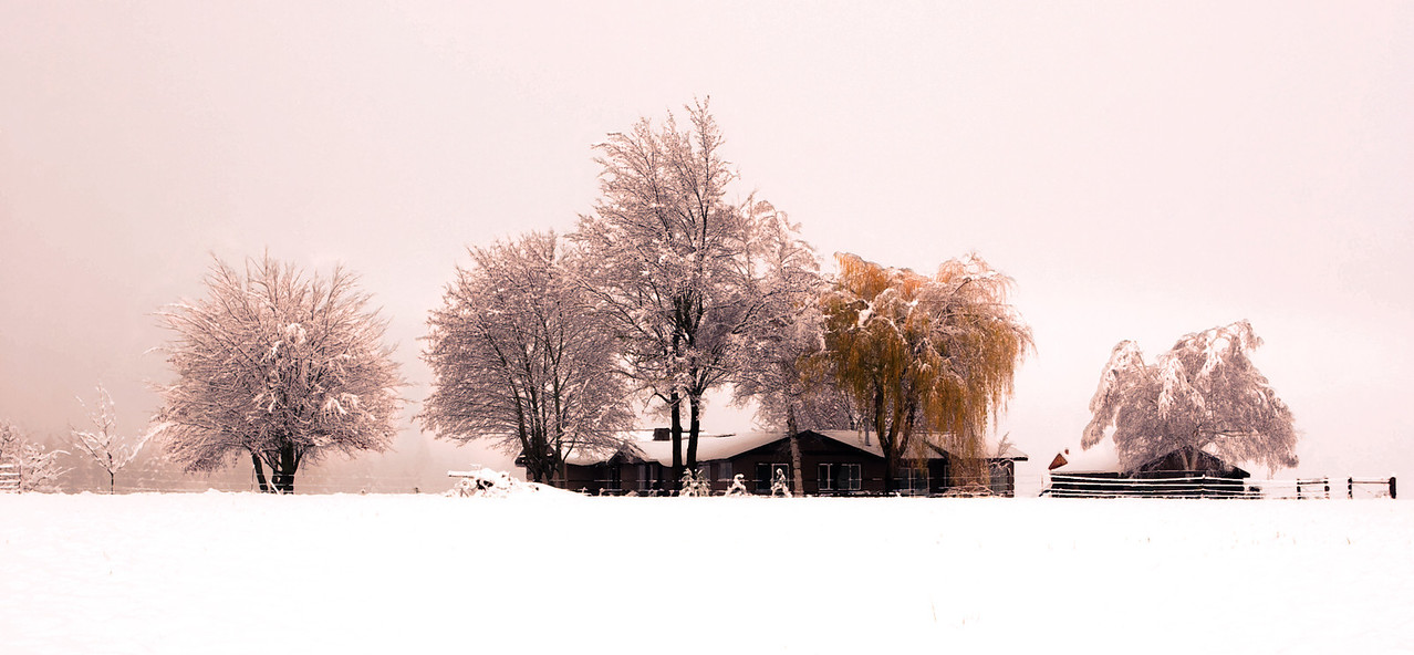House and field in winter under a blanket of snow.  This scene should look very familiar to any Parkdale locals out there.<br /> <br /> Location: Parkdale, Oregon<br /> <br /> Lens used: Canon 17-40mm f4.0