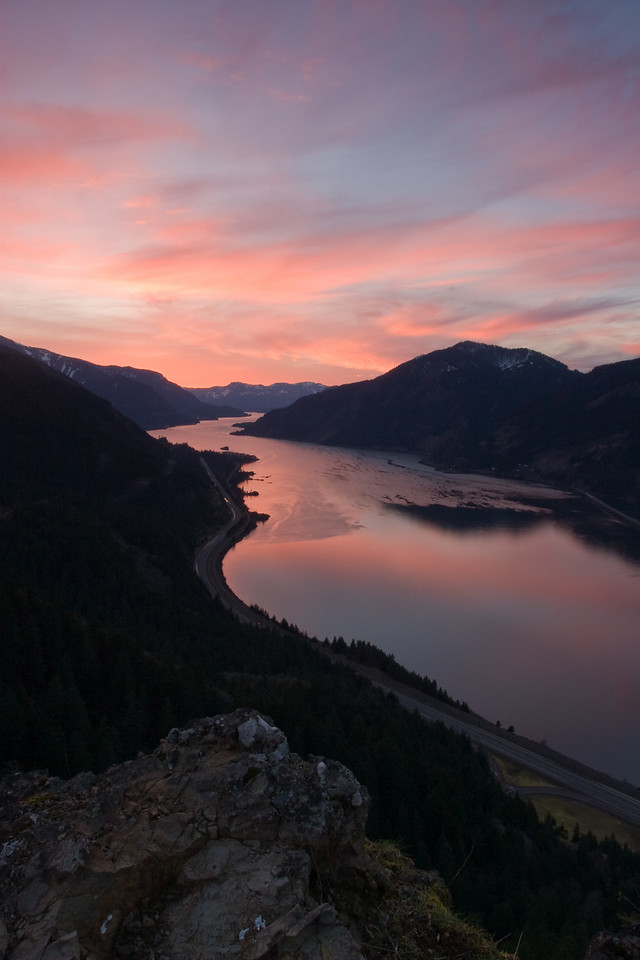 Looking west down the Columbia River Gorge from atop Mitchell Point.<br /> <br /> Location: Near Hood River, Oregon<br /> <br /> Lens used: 17-40mm f4.0 w/3 stop Grad ND filter
