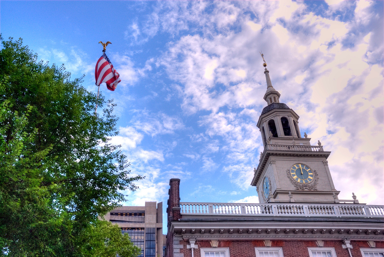 Bell tower at the Independence Hall in Philadelphia, Pennsylvannia