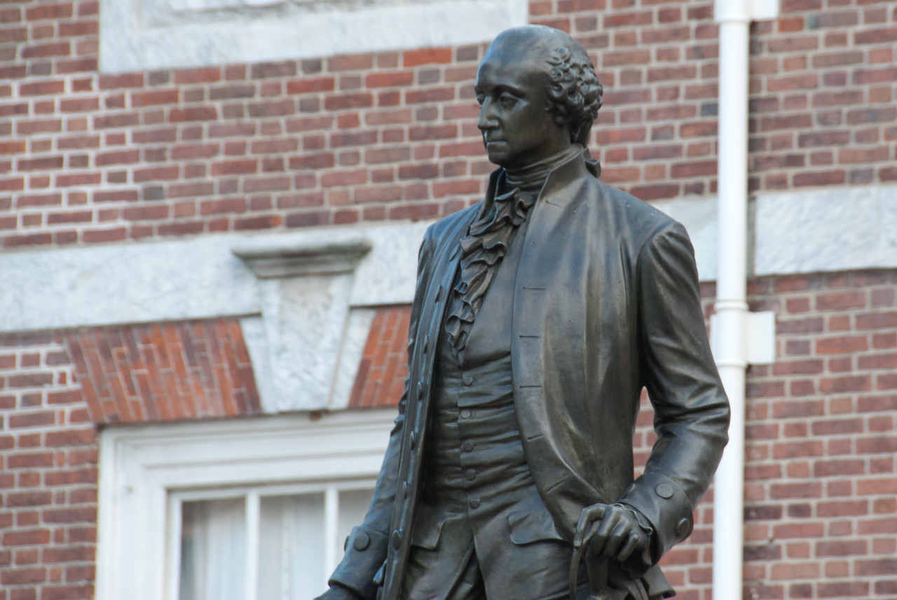 Joseph Alexis Bailly's statue of George Washington in front of Independence Hall, Philadelphia