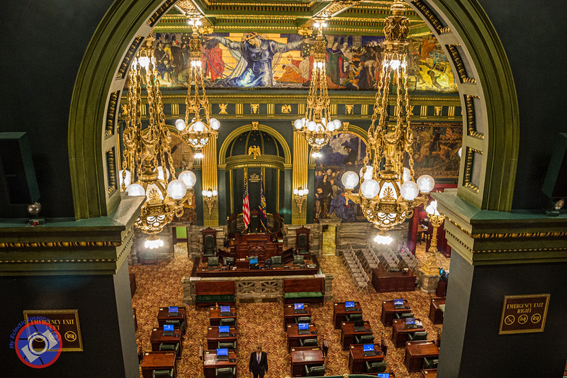 The Floor of the State Senate in the Pennsylvania State Capitol in Harrisburg Showing the Beautiful Chandeliers and Magnificent Murals (©simon@myeclecticimages.com)