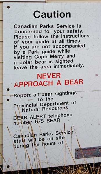 <center>Obligatory Warnings  <br><br>Churchill, Manitoba, Canada</center>