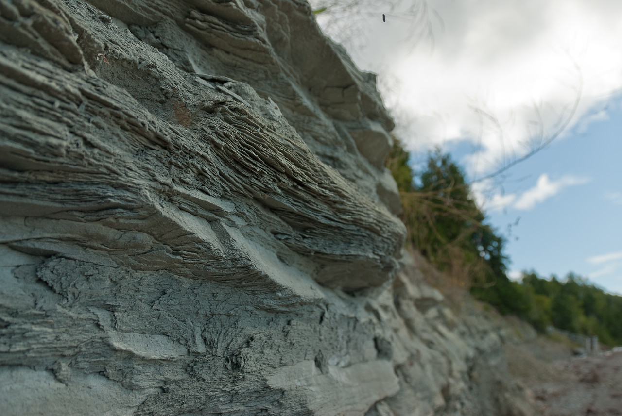 Close-up of cliffs at Miguasha National Park in Quebec, Canada