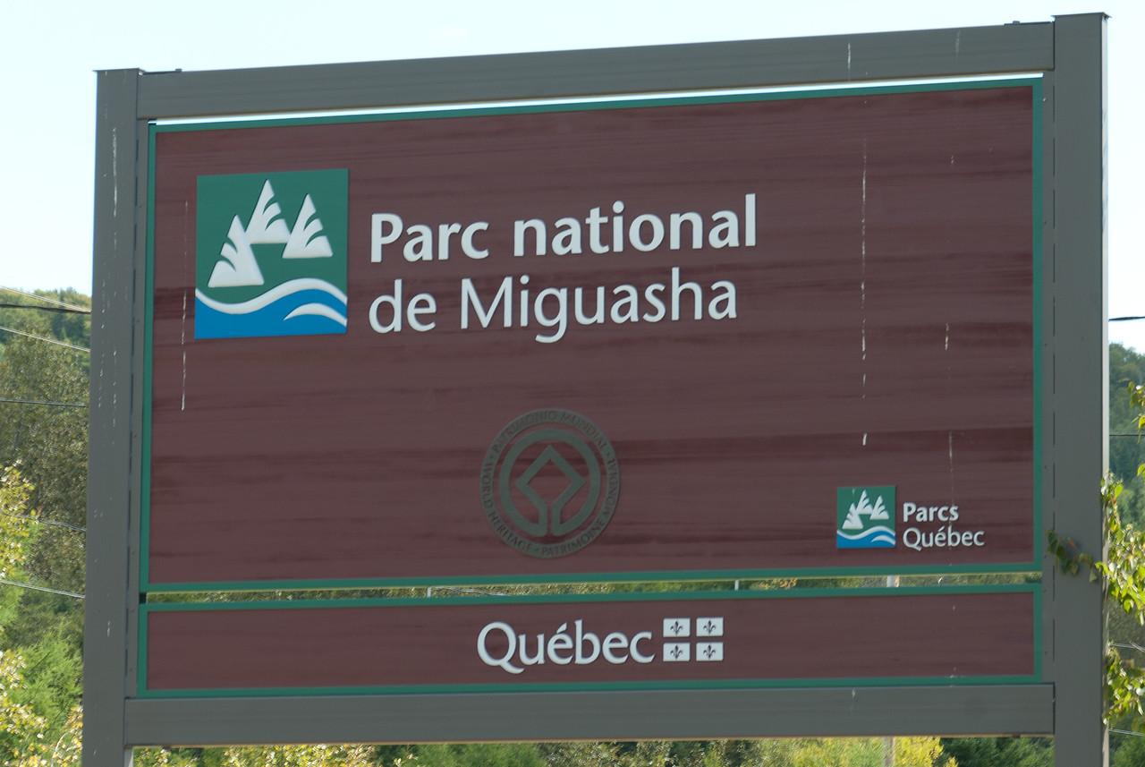Sign at Miguasha National Park in Quebec, Canada