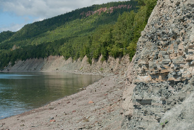 Outcrop of the Devonian beds in Miguasha National Park, Quebec, Canada