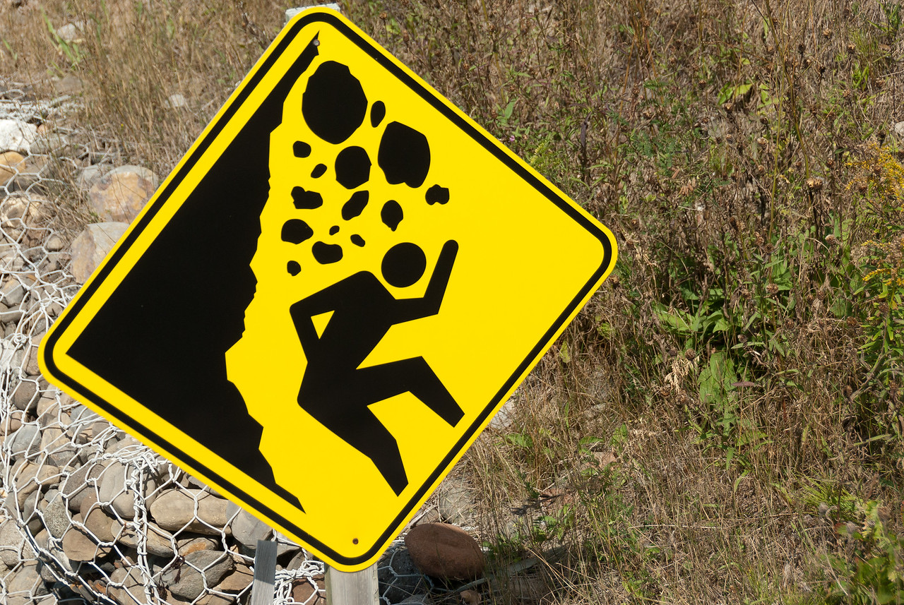 Danger sign in Miguasha National Park, Quebec, Canada