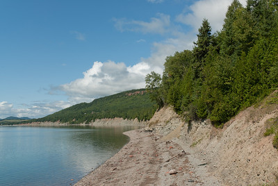 Shore near the cliffs of Miguasha National Park in Quebec, Canada