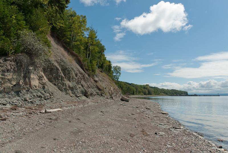 Shore near the cliffs of Miguasha National Park in Quebec, Canada