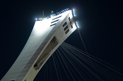 The Olympic Stadium at night in Montreal, Quebec, Canada