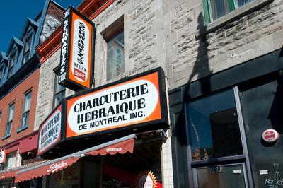 Outside a Hebrew delicatessen shop in Montreal, Quebec, Canada
