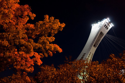 The Olympic Stadium at night in Montreal, Canada