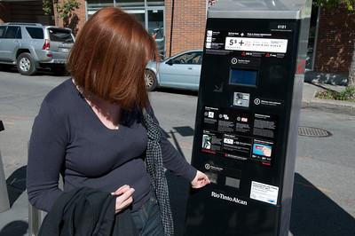 Ticketing machine in Montreal, Quebec, Canada
