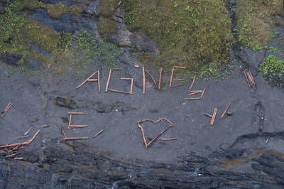 Love notes on the floor of Montmorency River, Quebec, Canada