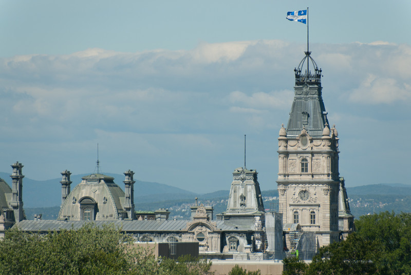 Roofs and tower of Parliament Building in Quebec City, Quebec, Canada